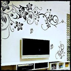 Hot DIY Wall Art Decal Decoration Fashion Romantic Flower Wall Sticker/ Wall Stickers Home Decor Wallpaper removable fashion wall decor Wallpaper Free, 3d Wallpaper For Walls, Vogue Wallpaper, Wallpaper Decor, Striped Wallpaper, Wallpaper Online, Butterfly Wall Stickers, Wall Stickers Home Decor, Diy Butterfly