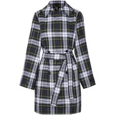 McQ Alexander McQueen Plaid cotton-blend trench coat ($375) ❤ liked on Polyvore featuring outerwear, coats, jackets, green, multi colored coat, green coat, colorful coat, plaid trench coat and mcq by alexander mcqueen