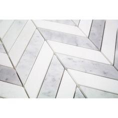 Talon White Carrara and Thassos Marble Tile | TileBar.com