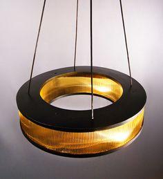 Gold filter chandelier.