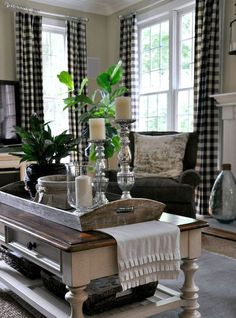 Great Farmhouse Living Room Decor Ideas – Farmhouse style is charming and comfortabl… – All About Home Decoration Decor, Plaid Living Room, Farm House Living Room, Family Room, Home And Living, Farmhouse Living, Home Living Room, Living Decor, House Interior
