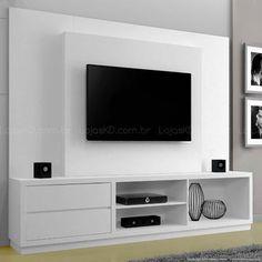 Estante Home Theater 2 Gaveta para Tv até 50 Polegadas 100% MDF Babilônia Branco - Mavaular Móveis(Cod. 138940)