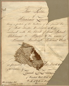 Blood-stained piece of curtain from Fords Theater