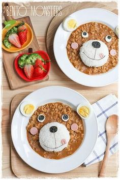 Pin by Krizia on Food/Kawaii Food Art For Kids, Cooking With Kids, Bento Recipes, Baby Food Recipes, Cute Food, Good Food, Plat Simple, Kids Menu, Food Decoration