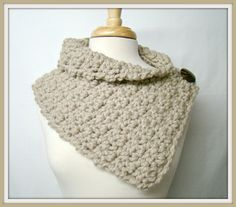 Tan Cowl Crochet with Button Warm Cowl Winter Scarf by HookMadness, $26.00