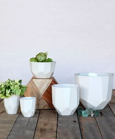 The beauty of the craftsmanship shows in it's perfectly designed geometric edges with a matte exterior and gloss interior glaze. Made in California Material: Ceramic Size: Small W x H / Med W x H Care instructions: Hand wash recommended Scandinavian Interior Design, Scandinavian Style, Home Interior Design, Ceramic Planters, Ceramic Cups, Off White Kitchens, Bliss Home And Design, Serveware, Beautiful Gardens