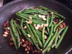 Pan Sautéed Green Beans with Bacon & Almonds My delicious take on an amazing side dish!