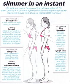 Slimmer in an instant: posture fixes! - - - - What we tell our patients at Breakthrough- -  use your lower abs and pull your stomach in and up - - most people have really weak pelvic floor and lower ab muscles so changing posture and using those muscles to pull everything in and up and standing tall with make you look slimmer instantly!