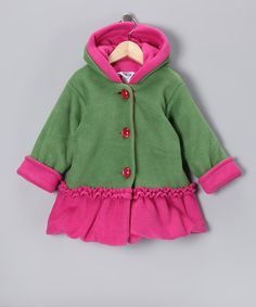 Take a look at this Green & Pink Fleece Split Swing Bubble Coat - Infant & Toddler by Corky & Company on #zulily today!
