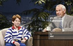 THE TONIGHT SHOW STARRING JOHNNY CARSON -- Air Date 02/13/1987 -- Pictured: (l-r) Actor Seth Green during an interview with host Johnny Carson on February 13, 1987 (Photo by Chris Haston/NBC/NBCU Photo Bank via Getty Images)