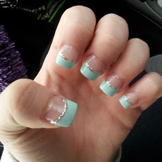 French tip with glitter bottom