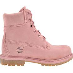 Timberland #A12LS 6IN PREMIUM BOOT Rosa farbene Damen-Boots von Timberland aus Nubukleder mit dezenter Logoprägung, gepolstertem Schaftrand und hochwertigem Lederfutter sowie einer ca 25 mm hohen Gummiprofilsohle. Ein perfekter Schuh für die nasse Jahreszeit, da sie dank silikonverschweißter Nähte wasserfest sind.