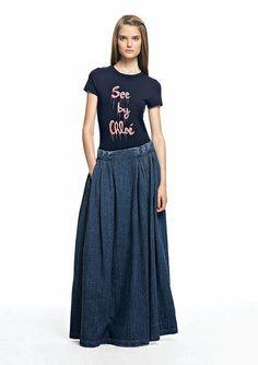Long denim skirt See by Chloe