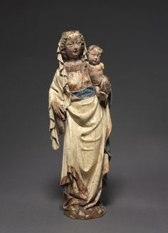 Virgin and Child, c. 1370-1380 Austria, Diocese of Passau, 14th century painted lindenwood, Overall - h:51.50 cm (h:20 1/4 inches).