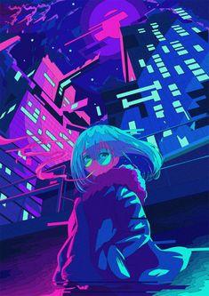 Japanese Illustrator BerryVerrine Dazzles With Awesome Retrowave Kawaii Art – . Japanese Illustrator BerryVerrine Dazzles With Awesome Retrowave Kawaii Art – grape Japan. Cyberpunk Aesthetic, Neon Aesthetic, Aesthetic Anime, Aesthetic Japan, Art Anime Fille, Anime Art Girl, Manga Art, Cyberpunk Kunst, Cyberpunk Anime