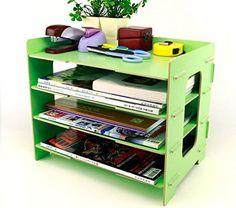 Menu Life Desk File Letter Trays DIY File Desk File Storage Cabinet Box Magazine Rack (Light Green)