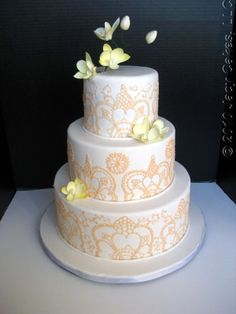 lace peach wedding cake - It's a good start with the peach lace work but needs more. More flowers, better lace work