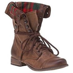 Steve Madden Flannel Leather Brown Combat Boots