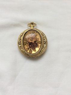 Max factor Makeup locket Vintage locket Roses by TreasuresinTyme