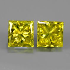 0.30 ct. Perfect Pair Fancy Yellow 2.9mm Princess Cut Diamonds, SI-1 Fancy, Princess Cut Diamonds, Colored Diamonds, Natural Gemstones, Diamond Cuts, 9 Mm, Yellow, Nature, Minerals