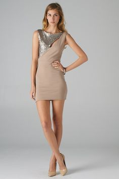 Cut-out Sequined Dress