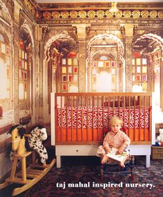 Guarantee your tot's love for travel with this TajMahal inspired nursery.