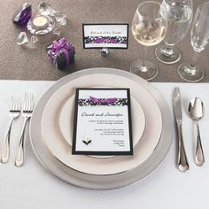 Michaels.com Wedding Department: Ribbon Adorned Menu and Placecard Black, White and Purple ribbons make for striking wedding place settings.