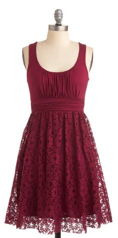 Cranberry lace dress for the bridesmaids