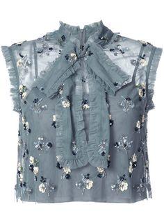 NEEDLE & THREAD Embroidered Crop Top. #needlethread #cloth #top