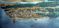 Colonial Jamestown About 1614 - Jamestown, Virginia - Wikipedia Oxford Or Cambridge, Jamestown Colony, Roanoke Island, Chesapeake Bay, Aerial View, Family History, Cover Photos, New England, Colonial