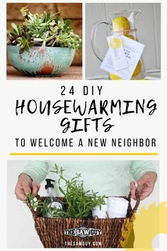 24 DIY Housewarming Gifts To Welcome A New Neighbor - The Saw Guy - - A welcome to the block is a great way to start off when a new neighbor rolls into town. If you aren't sure wha. Homemade Housewarming Gifts, Housewarming Gift Ideas First Home, Housewarming Gift Baskets, First Home Gifts, New Home Gifts, Homemade Gifts, Diy Gifts, New Neighbor Gifts, Welcome New Neighbors