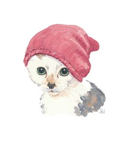 Cat Watercolour  Original Painting Kitten by WaterInMyPaint, $40.00