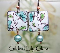 Teal Blooms Enamel Earrings Copper Enamel Jewelry by luckiepenny