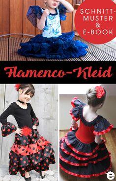 Schnittmuster Flamenco-Kleid für Mädchen • Näh-e-Book Rüschenkleid Mode Lookbook, Girly Girl, Snow White, German, Victorian, Disney Princess, Party, Blog, Diy