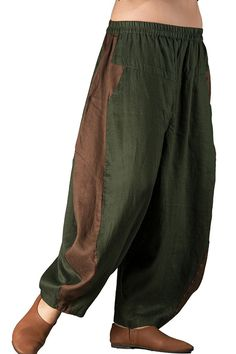 Outline Women's Elastic waist Loose Baggy Patchwork Linen Harem Pants *** Check out the image by visiting the link. (This is an affiliate link) #PalazzoPants