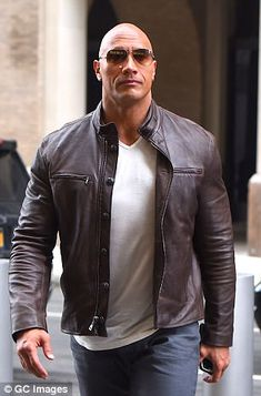 For dwayne johnson street style i pin this for my father 3 dwayne johnson, rock The Rock Dwayne Johnson, Dwayne The Rock, Rock Johnson, Men's Leather Jacket, Leather Jackets, Jacket Men, Celebrity Selfies, Stylish Mens Outfits, Handsome Actors