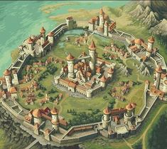 Hilltop Castle walled Town Knight Fall Legendary pixel artist Yuriy Gusev a. Fool (remind me to do an artist feature about him) released a fun flash game with Vlad Golcea, Alexander Buler (music) and Cezar Cazan. Fantasy Town, Fantasy Castle, Fantasy Map, Fantasy Places, Medieval Fantasy, Medieval Town, Medieval Castle, Chateau Moyen Age, Rpg Map