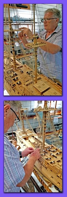 """Maritime Model Museum: rigging the """"Bonhomme Richard"""" a large scale model with all components hand made Museum Collection, Model Ships, Rigs, Scale Models, Sailing Ships, Restoration, Toy, Australia, Beach"""