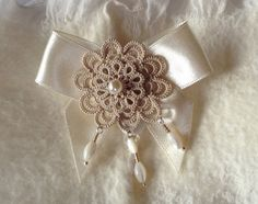 Beige tatted lace brooch floral by SILHUETTE on Etsy