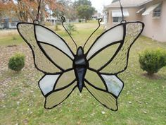 Delicate White and Clear Stained Glass Butterfly by ObanaGlass, $30.00