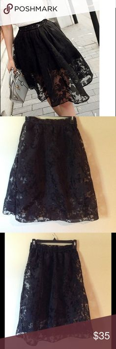 """Black lace print midi skirt Very chic and versatile black skirt in lace print with lining, midi length of 26"""", waist has elastic so it will fit 24""""-30"""" waist comfortably, can fit many sizes small and medium, brand new in packaging, no tags attached Boutique Skirts Midi"""