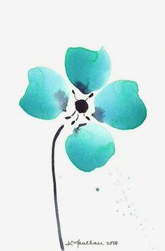 Abstract Watercolor Flower Art Print: Aqua Loves Indigo. Aquamarine ~ Teal ~ Turquoise ~ Beautiful ~ Calming ~ Aqua.