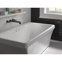 Delta Classic 400 Curve 60 in. x 62 in. Frameless Sliding Tub Door in Stainless-B55910-6030-SS - The Home Depot Granite Vanity Tops, Marble Vanity Tops, Double Bath, Wall Mount Faucet, White Sink, Delta Faucets, Vanity Cabinet, Contemporary Bathrooms, Bath Vanities