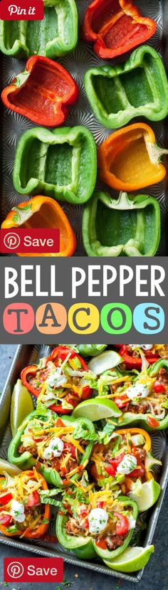 Baked Bell Pepper Tacos  28 mins to make serves 4 - Ingredients  Produce  1 Avocado fresh  4 Bell peppers large  1 Cilantro fresh  1 Cilantro and lime  1 Jalapenos   cup Lettuce  1 Lime wedges   cup Tomato  1 Veggies fresh or leftover roasted  Refrigerated  1 cup 3-4 cups seasoned tofu Seasoned  Condiments  1 Guacamole  1 Looking for extra crunch? try crumbling a few tortilla chips on top of your bell peppers or serve them with a side of chips and salsa  1 Pico de gallo  1 Salsa  1 Salsa…