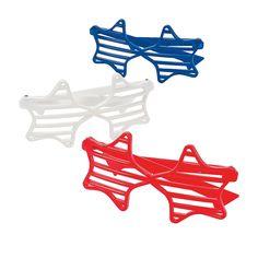 Red,+White+&+Blue+Star-Shaped+Shutter+Sunglasses+-+OrientalTrading.com
