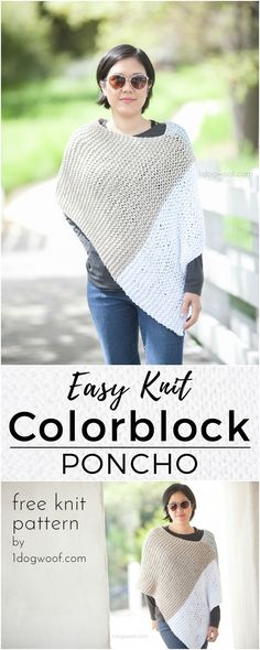 A modern colorblock wrap or poncho using a simple knit garter stitch! Photo by Jeune Girl Studio Poncho Au Crochet, Poncho Knitting Patterns, Shawl Patterns, Loom Knitting, Free Knitting, Knitted Shawls, Simple Knitting Patterns, Crochet Vests, Crochet Cape