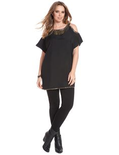 Plus Size Fashion - Studio Beaded Fringe Tunic $118 PLUS 50% OFF w/ Promo Code SPLURGE | Earn Cashback when you shop at ELLOQUII.com! Sign up with DubLi for FREE at www.downrightdealz.net and GET PAID for all your online shopping!