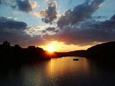 Breathtaking! The sun setting on the Bucks County Riverboat Company pontoon boat.