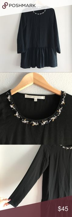 Lovers + Friends • Beaded Neck Drop Waist Dress Lovers + Friends black long sleeve drop waist dress with beautiful beaded neckline. Pockets. Poly/elastane. No flaws- excellent condition. Size S Lovers + Friends Dresses Mini