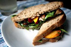 Bacon, Peach and Arugula Sandwich adapted recipe from food network magazine - this one is cut down to two sammie servings i'm a big ole BLT lover, so let's see if this is gonna be my summer go to version - bet you could use nectarines too...